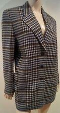 LAUREL Beige Brown & Black Checked Wool Blend Collared Blazer Jacket FR38 UK10