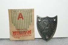 NOS 1920's-30's Monogram Junior Radiator Motometer Cap Shield Letter A Brushed