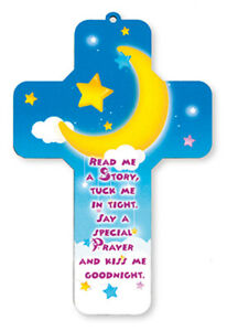 Children's ' Read Me A story ' Laser Cut Wooden Cross Religious Gift New