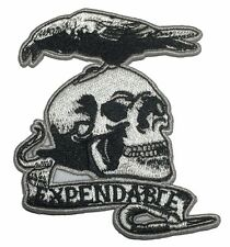 "The Expendables Skull Logo  3 "" Wide Embroidered Iron On Patch"