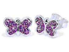 Glitzer Schmetterling Ohrstecker Echt 925 Silber Mädchen Ohrringe Lila 8 x 5mm