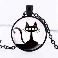 Retro Cat Art Crystal Glass Pendant Necklace Jewelry Gift Bag - Black