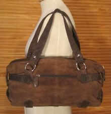 2f2978fc759 DOMO genuine suede tote shoulder bag D brown faux leather mock reptile strap