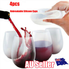 New 4pcs Unbreakable Silicone Cup Wine Glass Stemless Beer Whiskey Collapsible R