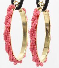 """Twisted seed bead hoops big gold pink hoop earrings 2-1/8"""" classic Southwestern"""