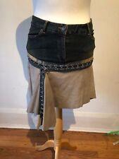 Plein Sud Jeans Denim Leather Blue Grey Hook Eye High Waist Mini Skirt 38 10