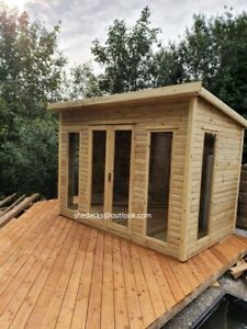 PENT GARDEN SHED CABIN SUMMER HOUSE WORKSHOP PLAYHOUSE OFFICE CONTEMPORARY T&G