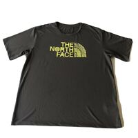 THE NORTH FACE Gray Yellow Embroidered Cross Fit Hiking Running T Shirt Mens XL