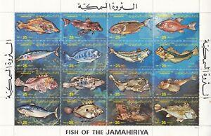 stamps LIBYA 1983 SC 1107 FISH MNH SHEET # 28