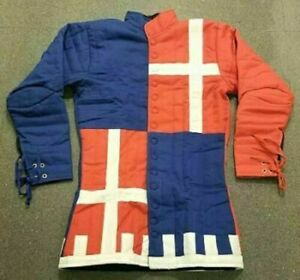 Medieval Gambeson Reenactment Amazing Blue & Red Color Padded Jacket