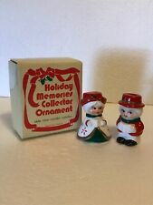 Vintage Holiday Memories Collector Ornament Olde Time Caroler Candle Holder Set