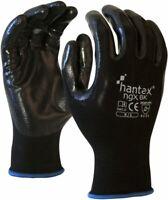 10 Pack Hantex® NGX Lightweight Tough Nitrile Palm Coated Work Gloves RED BLACK
