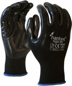 10 Pack Hantex NGX Lightweight Tough Nitrile Palm Coated Work Gloves RED BLACK