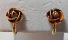 Vintage Painted Rose Stud Style Clip Earrings