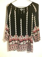 Angie Women's Top Peasant Boho Size S Blouse 100% Rayon Shirt