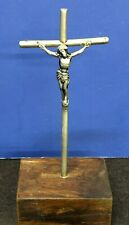 Antique Cross Pewter With Wood Stand Christ Nailed To The Cross ( Small )