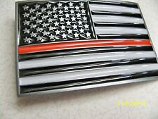 U.S.A., American Flag, Firefighter, Fireman metal THIN RED LINE Belt Buckle NEW!