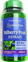 100 Capsule Bilberry Fruit 375mg 10:1 Extract Natural Dietary Herbal Supplement