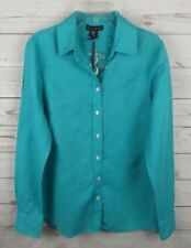New Willi Smith Linen Blend Shirt XS Turquoise Button Down