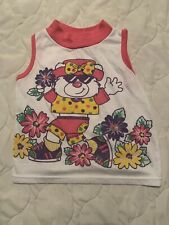 Vtg 80s Lightning Bug Bear Floral Punk Tank Top Ringer T-Shirt Too Kids Sz 5
