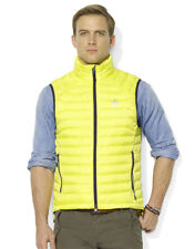 Polo Ralph Lauren RLX Mens Black Yellow Solid Down Filled Feather Vest Jacket
