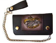 Cartera billetera monedero piel PU motos broches y cadena cromada antiperdida