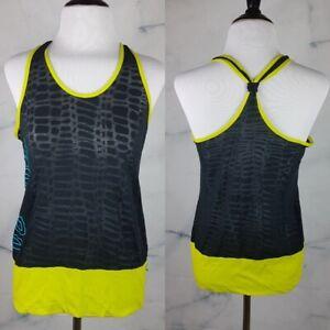 Zumba Animal Burnout Shirt Athletic Racer Tank Top XS S Sheer Black Neon Yellow