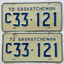 Canada 1972 Vintage License Plate Garage YOM Old Car Auto Tag Saskatchewan