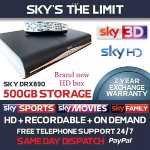 Brand New Sky Plus + HD Box, DRX890 500gb,New Rev 9 Remote,2 Year Warranty