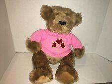 "Hug & Luv 18"" Huggable Pink Knit Sweater with Heart Teddy Bear Stuffed Plush"