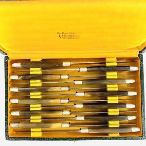 """Antique French Knife Set Of 12 Horn Handles Silver Collars & Caps 8.25"""" 1850-99"""