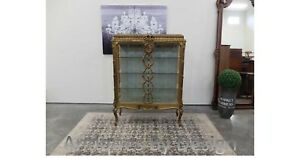 C1890 Gold Gilt Marble Top French 2 Door Vitrine / Crystal Cabinet On Stand