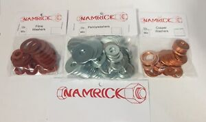 MIXED SIZE IMPERIAL WASHER PACKS, PENNY WASHERS, COPPPER WASHERS, FIBRE WASHERS