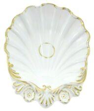 "9"" Shabby Chic Seashell Shell Bowl White Gold Dish Mermaid Ocean Goddess Ceramic"