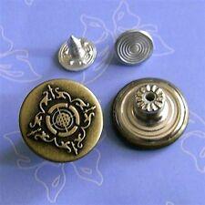 12 Vintage Lot NO-SEW Metal Snaps Tack Jacket Jeans Buttons 16.5mm 26L G85