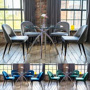 Cecelia Luxury Dining Table Set with a Choice of Scoop Dining Chairs Round Glass