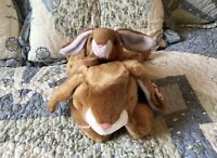Ears Beanie Baby And Beanie Buddy Set Of Brown Bunny Rabbits.  MWMT