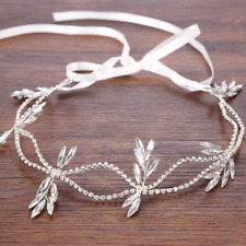 Wedding Bridal Women Rhinestone Clear Crystal Leaf Headpiece Headband Hair Band