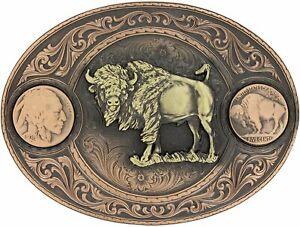 Montana Silversmiths Miners Buffalo Indian Head Nickel Belt Buckle with...