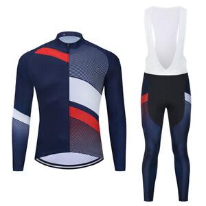 Mens Long Sleeve Cycling Jerseys Bib Pants 3D Pad Outdoor Sports Ride Wear Set
