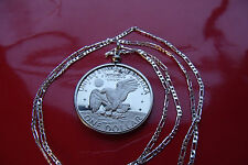 """EISENHOWER USA PROOF GEM DOLLAR PENDANT on a 28"""" .925 Sterling Silver Chain"""