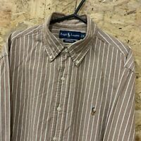 Ralph Lauren Mens Shirt Size 16 L LARGE Long Sleeve Brown Custom Fit Striped