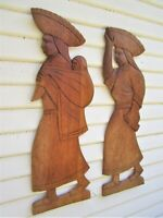 VINTAGE MEXICO CARVED WOOD TWO WOMEN WALL HANGING ART SET OF TWO