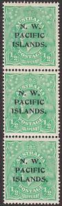 New Guinea 1915 KGV NW Pacific Islands Head ½d Opt abc Varieties Strip Mint SG65