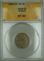 1868 Shield Nickel 5c Coin ANACS VF-30