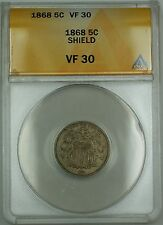 1868 Shield Nickel 5c Coin ANACS VF-30