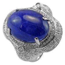 De Buman 14K White Gold 16.26ct Tanzanite & Diamond Luxurious Ring, Size 7.25