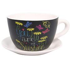 Inspirational Sunshine Ceramic Flower Herb Cup & Saucer Pot Plant Planter - 13cm