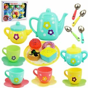 Kids Tea Set Cake Play Food Tea Pot Role Pretend Play Party Toy, 20 Pieces