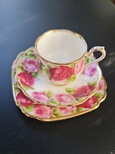 Royal Albert Old English Rose Bone China Tea Trio,  Vtg Pink Floral Tea Cup Set